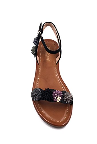 CHIC NANA Flat Sandals With Flower, Open Toe, Open Back. Black