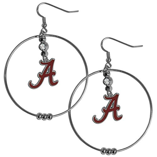 NCAA Alabama Crimson Tide Hoop Earrings, 2-Inch ()