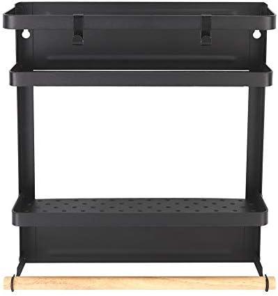 [해외]Household Multi-Functional Folding Magnet Refrigerator Rack Hanging Storage Rack (Black) / Household Multi-Functional Folding Magnet Refrigerator Rack Hanging Storage Rack (Black)