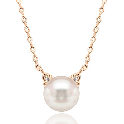 (PAVOI Handpicked AAA+ Cat Ear Freshwater Cultured Pearl Necklace Pendant - Rose )