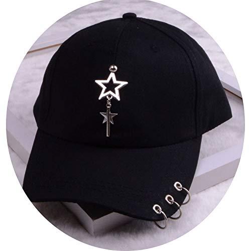 女性 リング野球帽 男性女性 白黒 野球の帽子,2つ星の黒