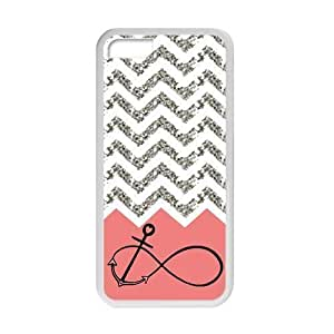 meilz aiaiiphone 4/4s Case Pink Infinity with Anchor Grey White Chevron Beautiful Luxury Cover Case Plastic For iphone 4/4s By meilz aiai