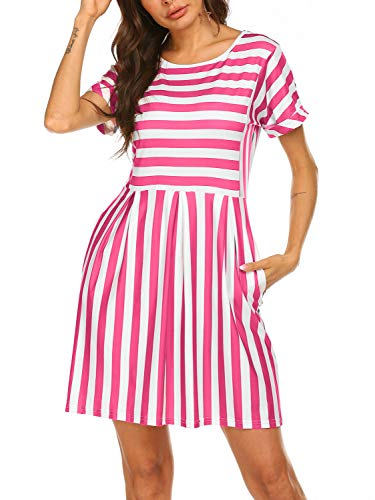 Naggoo Womens Summer Striped Short Sleeve T-Shirt Dresses Casual Swing Aline Dresses with Pocket Pink