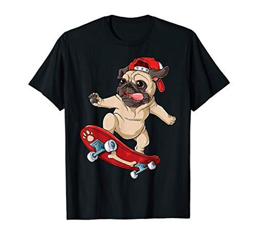 Pug Skateboard T shirt Dog Puppy Funny Skater Skateboarding ()