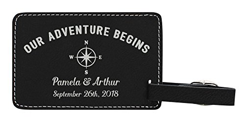 Personalized Wedding Anniversary Gifts Custom Names & Date Our Adventure Begins Personalized Wedding Gifts Personalized 2-pack Laser Engraved Leather Luggage Tags Black by Personalized Gifts (Image #1)