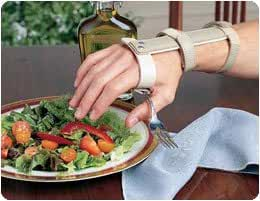 Sammons Preston 151201 Wrist Support with Palmar Swivel Clip, Regular, Right, Plastic Clip with Utensil Pocket, Ergonomic Wrist and Arm Support Aid