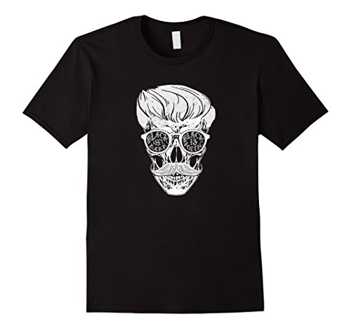 Mens Greaser Skull with Mustache and Glasses Halloween T Shirt Small Black