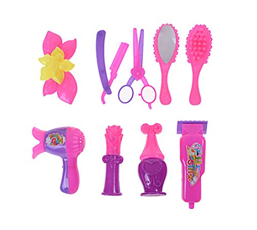 mk. park - 9X Doll Accessories Hair Salon Kit Children Play Gift Dollhouse Decor