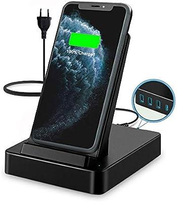 LADUO Estaciones de Carga inalámbrica,50W con 3 USB-A & USB-C ...