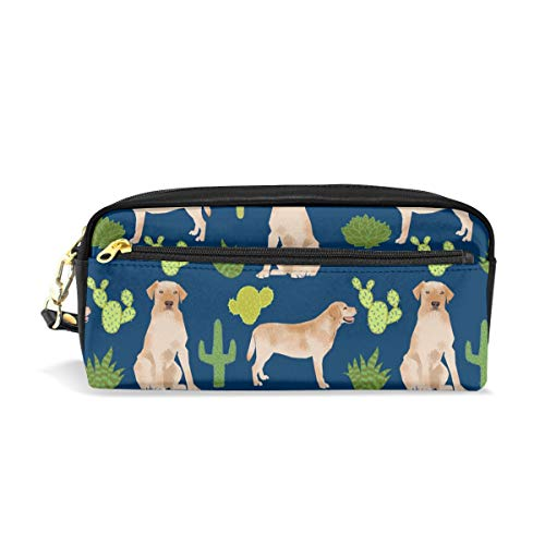 (Pencil Case Pouch Yellow Lab Labrador Retriever Labrador Retriever Cactus Large Capacity Pen Bag Makeup Pouch Durable Students Stationery Two Pockets with Double Zipper)