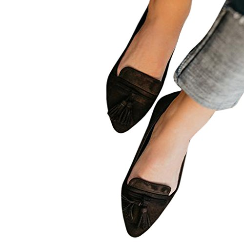 Pointed Toe Flat Laicigo Heel Low Ankle Slip Suede Casual Womens Tassel Black Faux Boots Loafers Ons Booties And qw1xO64wUY