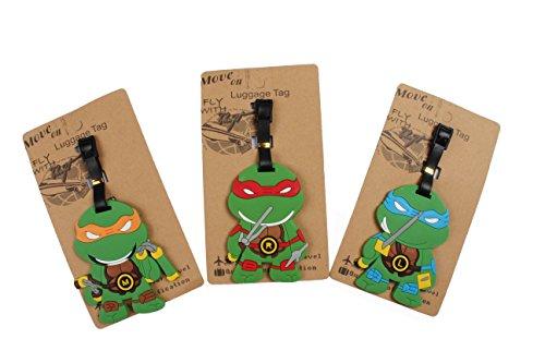 Set of 3 - Super Cute Kawaii Cartoon Silicone Travel Luggage ID Tag for Bags (Ninja Turtle) Turtle Tag