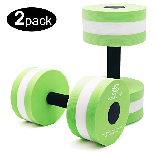 KLOLKUTTA Aquatic Dumbells, 2 PCS Water Aerobic Exercise Foam Dumbbell Pool Resistance,Water Aqua Fitness Barbells Hand Bar Exercises Equipment for Weight Loss (Green) (Aqua Set Exercise Fitness)