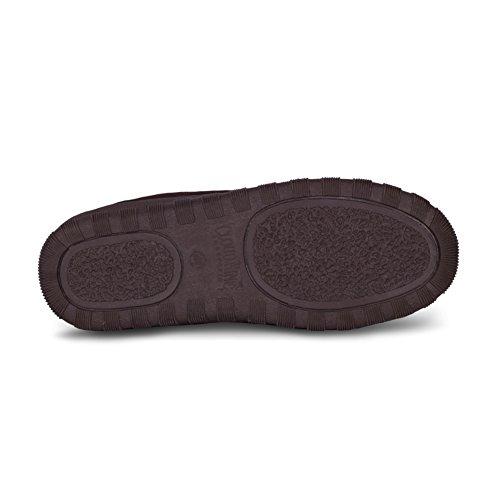 Rjs Fuzzies Hommes Cuir De Mouton Doublé Pacifique Glissières Sandales Chocolat