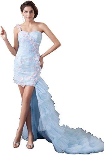 Mode Cocktailkleid Hellhimmelblau Minirock langem BRIDE Neue Schleppe GEORGE mit 1wqEtt