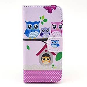 YXF Cute Owl Families Sitting on The Tree Pattern PU Leather Full Body Case for iPhone 5C