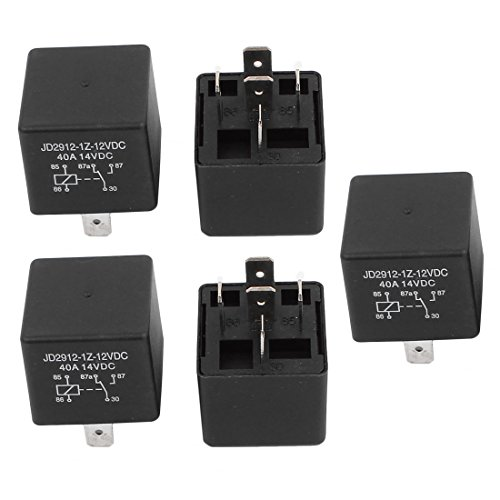 - uxcell JD2912 DC 12V Coil 40A 5 Pins SPDT Vehicle Car Security Power Relay 5pcs