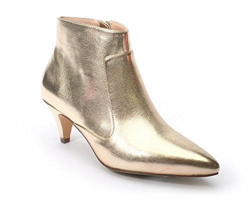 Jane and the Shoe Women's Kizzy Gold Metallic Kitten Heel Ankle Boot Size ()