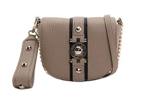 (Versace Jeans Women's Crossbody Bag No Size (Beige W/Nero Middle Trim))
