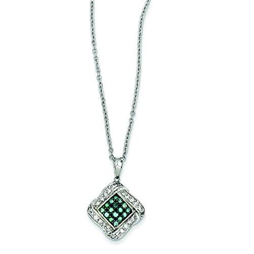 Argent sterling Bleu et Blanc Pendentif diamant brut