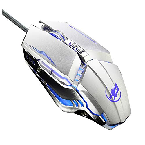 (DEESEE(TM) NewWired USB Gaming Mouse Ergonomic Design Programmable 6Keys 3200DPI Mice With LED (white))