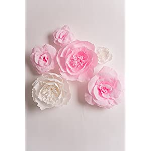 Handcrafted Flowers,Large Crepe Paper Flowers(Pink and White flower Set Of 6)For Wedding Backdrop, Baby Nursery Home Decor, Birthday Party, Photo Backdrop,Nursery Wall,Archway Decor,Event Decorations 3