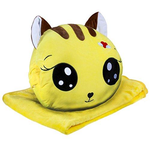 KOSBON 3 In 1 Cute Cartoon Plush Stuffed Animal Toys Throw Pillow Blanket Set with Hand Warmer Design. (Yellow)