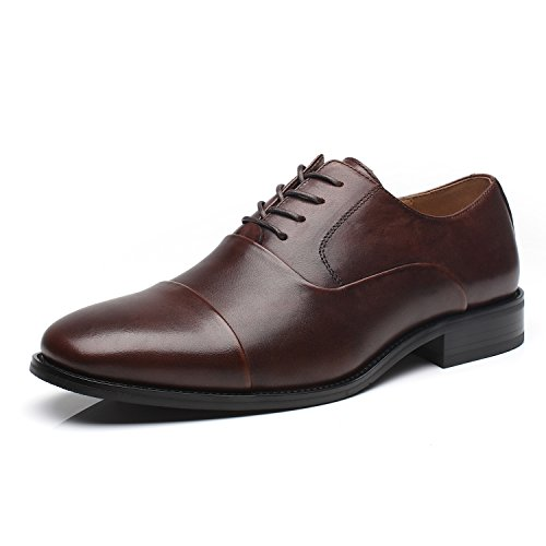 La Milano Mens Leather Cap Toe Oxfords Lace Up Classic Formal Business Casual Dress (Lace Up Cap)