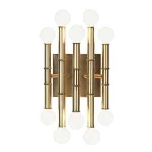 Robert Abbey 686 Sconces with Shades, Antique Brass Finish