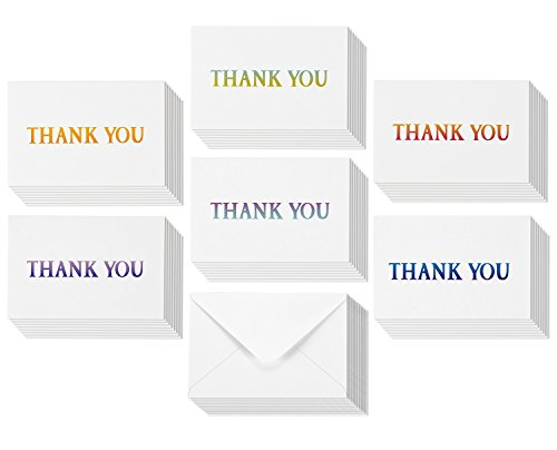 Thank You Greeting Cards - Gradient Font Designs - Red, Green, Blue, Orange and More - Includes 48 Cards and Envelopes - 4 x 6 Inches