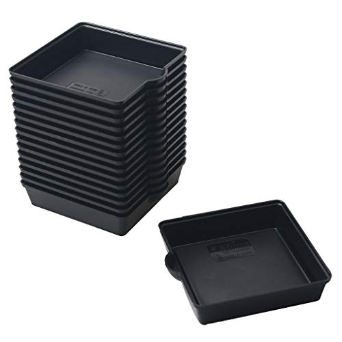 BangQiao 16 Pack 3.20 Inch Plastic Square Plant Pot Saucer Tray for Indoor and Outdoor Plants, Black (16 Square Plastic Trays)