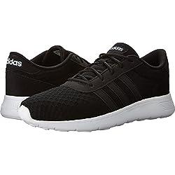 adidas Women's Lite Racer W Sneaker, Black/White, 7.5 M US