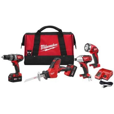 Milwaukee 2695-24 M18 Cordless Combo Compact Hammer Drill / Hackzall/ Hex Impact Driver/ M18 Led Work Light