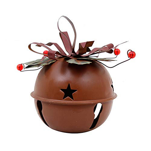 Rustic Metal Jingle Bell Decoration Cut Out Star Decorative Sleigh Bells Christmas Tree Ornament Xmas Holiday Decor Red (S)