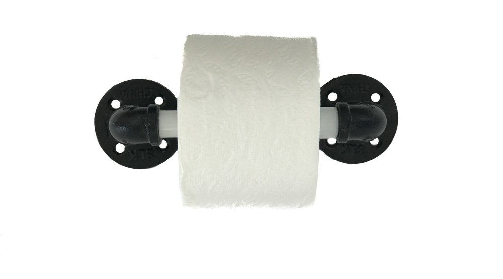 Spring Loaded Toilet Paper Holder - Wall Mounted - Includes Replacement Spindles (1, Black, Chrome Plated & White) by Piping Hot Art Works (Image #6)