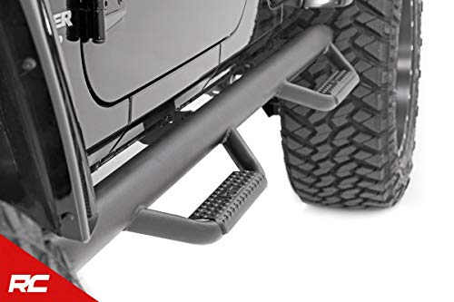 Rough Country Nerf Bar Hoop Steps Compatible w/ 2007-2018 Jeep Wrangler JK 4DR Drop Side Steps Rock Sliders 90764