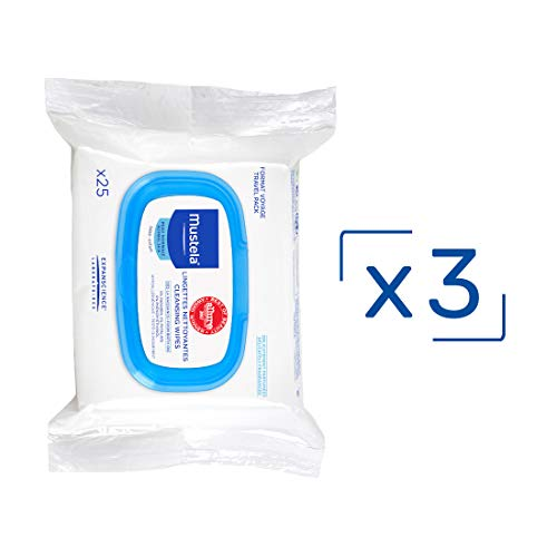 Mustela Cleansing Baby Wipes, New Packaging, 3 Count