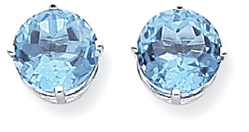 ICE CARATS 14k White Gold 9mm Blue Topaz Post Stud Ball Button Earrings Gemstone by ICE CARATS