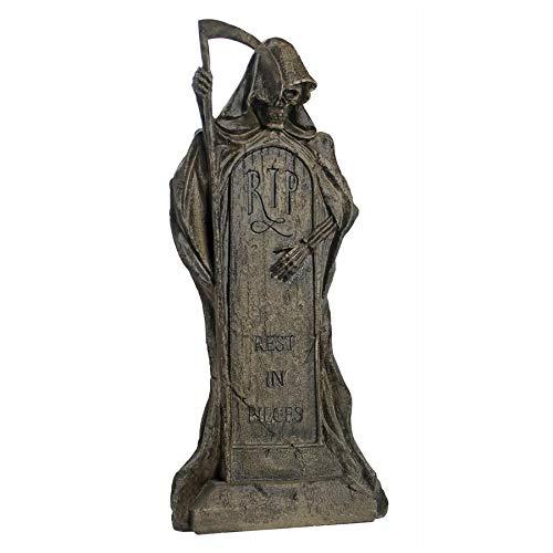 Design Toscano DB159491 Rest in Pieces Grim Reaper Halloween Tombstone Gothic Decor Garden Graveyard Statue, 25 Inch, Greystone