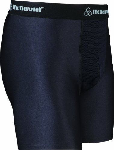 McDavid 9255 Youth Boxer Short with Cup Pocket, Black, Large