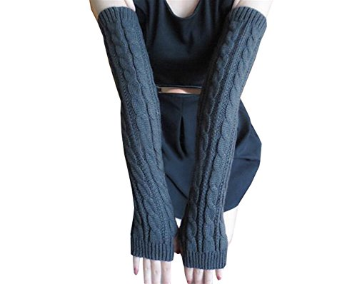 Dreamdress Knitted Long Gloves Fingerless Thumb Hole Gloves Mittens
