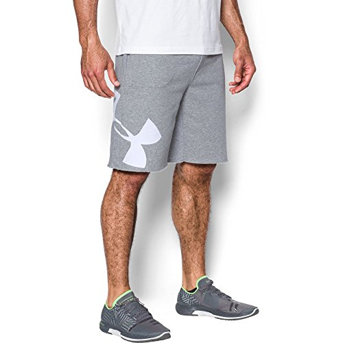 Logo Gym Shorts - Under Armour Men's Rival Fleece Exploded Logo Shorts,True Gray Heather (025)/White, XX-Large