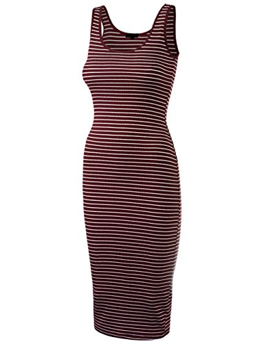 DOUBLDO Womens Line Striped Rib Jersey Boat Neck Tank Top Dress-L-BURGUNDY_WHITE