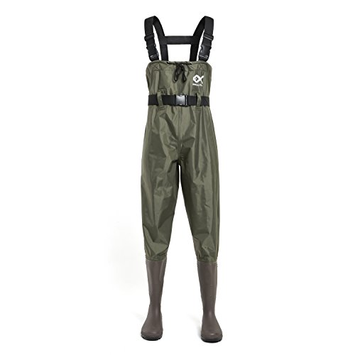 Duck and Fish PVC Chest Wader Cleated Boot Foot with Waist Belt (Size 11)