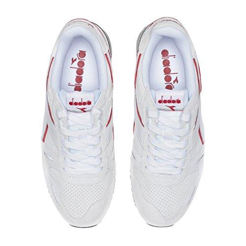 Diadora Titan Premium, Sneaker a Collo Basso Unisex-Adulto C5934 - Bianco-peperoncino Rosso