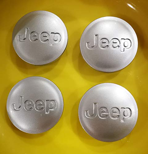 "Set New (4 Pieces) of 2005-2018 Jeep Wheel Center Caps Emblem 56mm /2.2"" Black Jeep Logo for Jeep Wrangler//Grand Cherokee/Jeep Commander/Compass/Liberty/Patrio (Matte Silver)"