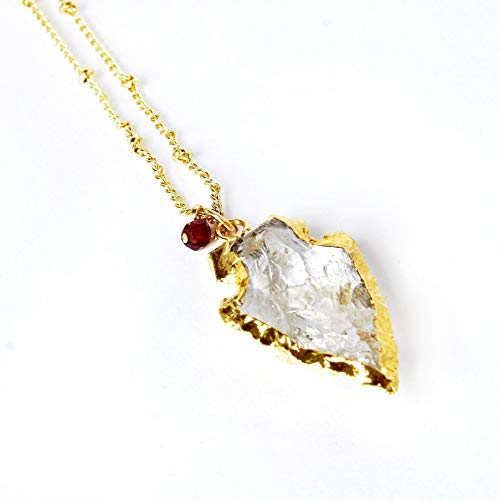 Pendant Necklace with Clear Quartz Arrowhead and Garnet Gemstone 20 Inch -