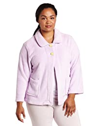 Casual Moments Womens Plus-Size Bed Jacket with Peter Pan Collar