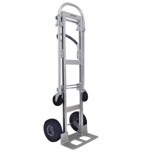 RWM Casters Aluminum Convertible Hand Truck with Loop Handle, Pneumatic Wheels, 500 lbs Load Capacity, 61