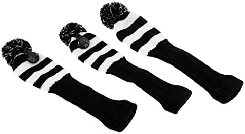 FLAMEER 3Pcs Rescue Utility Golf Headcover, Vintange Knit Pom Pom Golf Headcover Club Cover Head Protector -2 Colores